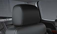 Photo of the available heated and ventilated front seats of the 2017 Sierra 2500HD pickup truck.