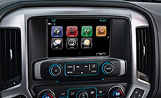 """Image of available IntelliLink with 8"""" color-touch screen in the 2017 Sierra 2500HD pickup truck."""