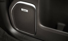 Image of available Bose premium speaker system in the 2017 Sierra 2500HD pickup truck.